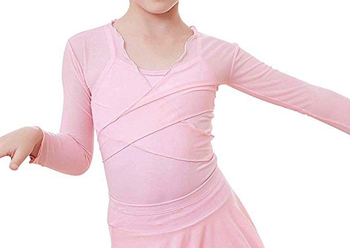 inlzdz Kids Girls Mesh Long Sleeve Wrap Top Sweater Cardigan Shrug with Adjustable Tie Closure