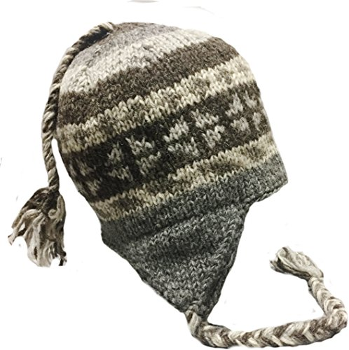 Nepal Hand Knit Sherpa Hat with Ear Flaps, Trapper Ski Heavy Wool Fleeced Lined Cap (Grey (Shadow Fleece Cap)