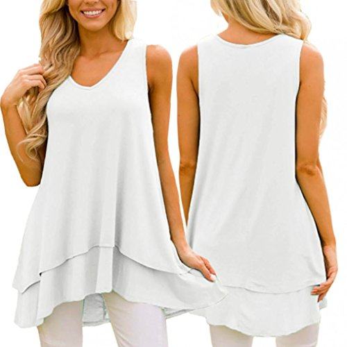 Price comparison product image Pervobs Tank Tops,  Women Loose Flowy Sleeveless Ruffle Layer V-Neck Asymmetric Hem Swing Tunic Tank Top (2XL,  White)