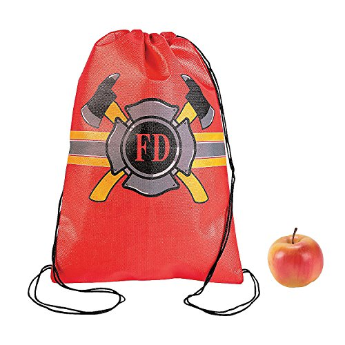Fun Express - Firefighter Drawstring Backpack for Birthday - Apparel Accessories - Totes - Novelty Backpacks - Birthday - 12 -