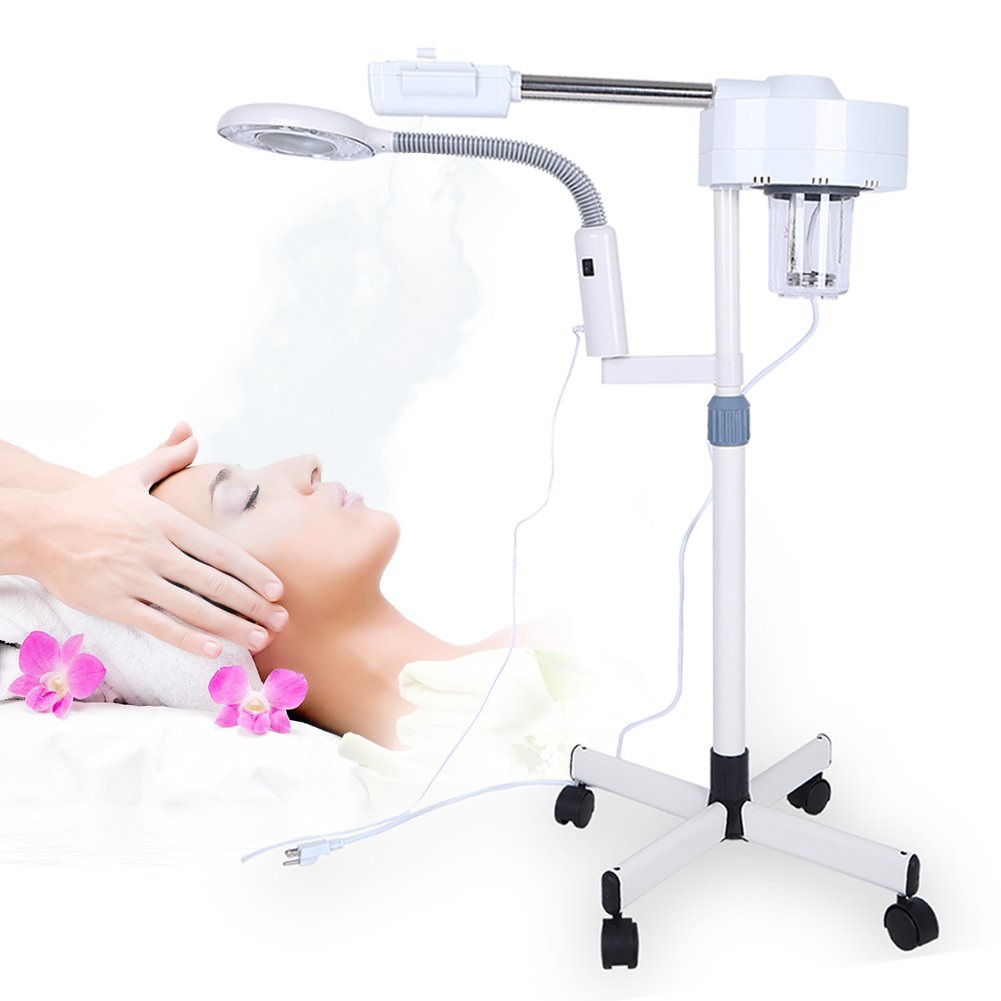 Facial Steamer, Professional Free Standing Face Steamer Face Mask Moisture Machine on Wheels with LED Light and 3 Times Magnification for Salon Spa Beauty Use Cocoarm