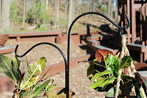 Ashman Double Span Black Deck Hook, Made of Premium Metal, Super Strong with 46-Inch Length and ideal for Bird Feeders, Plant Hangers, Coconut Shell Hanging Baskets, Lanterns and Wind Chimes and more!