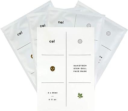CEL MD Nanotech Stem Cell - Máscaras coreanas (4 unidades) Mascarillas hidratantes y hidratantes para la cara. Las mejores máscaras de hoja para curación y recuperación. Suministro de un mes: Amazon.es: Belleza