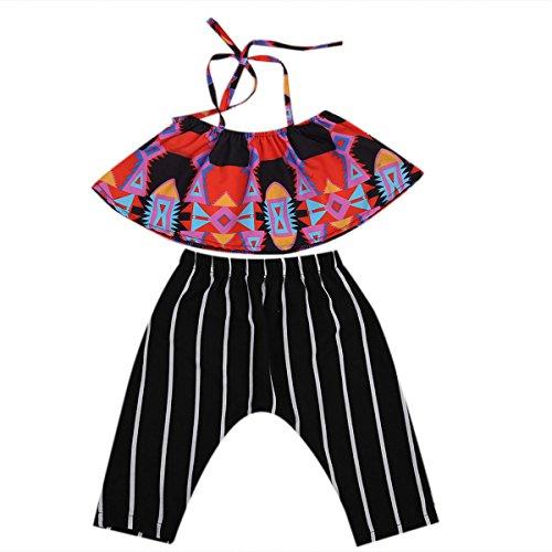 2pcs Set Little Baby Girl Hot Halter Tops Black Harem Pants Outfit Set Clothes (90(12-24months), Black/red) (Infant Girl Halter Top)