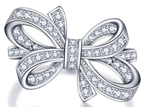 Richy-Glory - Party Bows 925-Sterling-Silver White Cubic Zirconia Rings (SIZE : 8)