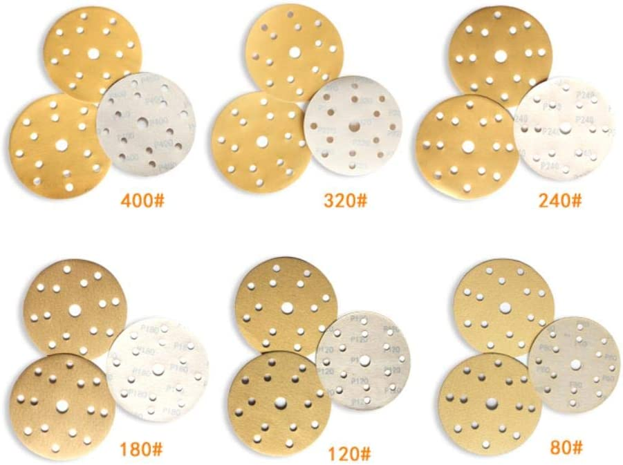100PCS 6 Inch 150 mm 15 Holes Hook and Loop Abrasive Paper Automotive Sandpaper Wood Sanding Disc for Polishing and Grinding,80 80