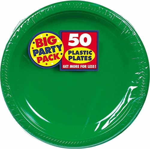Amscan Big Party Pack 50 Count Plastic Lunch Plates, 10.5-Inch, Green