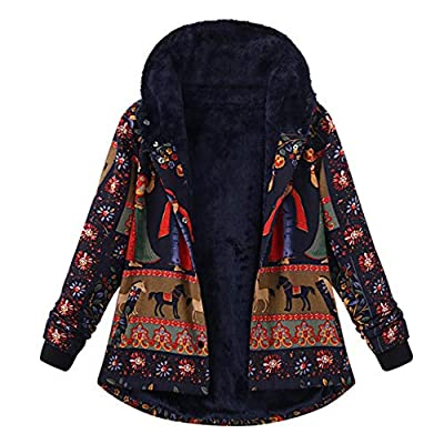 URIBAKE ? Fashion Women's Hooded Coat Winter Loose Thicker Warm Cotton Printed Pockets Hasp Outwear