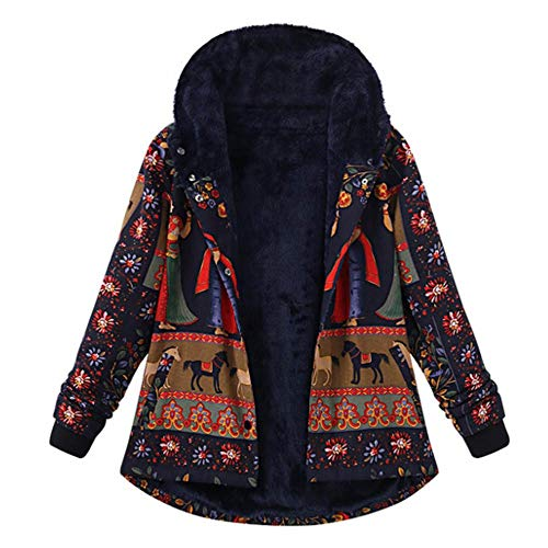 (Toimoth Womens Winter Warm Floral Print Hooded Pockets Zipper Coats Ladies Vintage Fleece Coats Outwear Oversize (Multicolor,XXXL))
