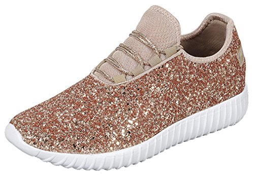 Encrusted Rose - Cambridge Select Women's Closed Toe Glitter Encrusted Lace-up Casual Sport Fashion Sneaker,8 B(M) US,Rose Gold