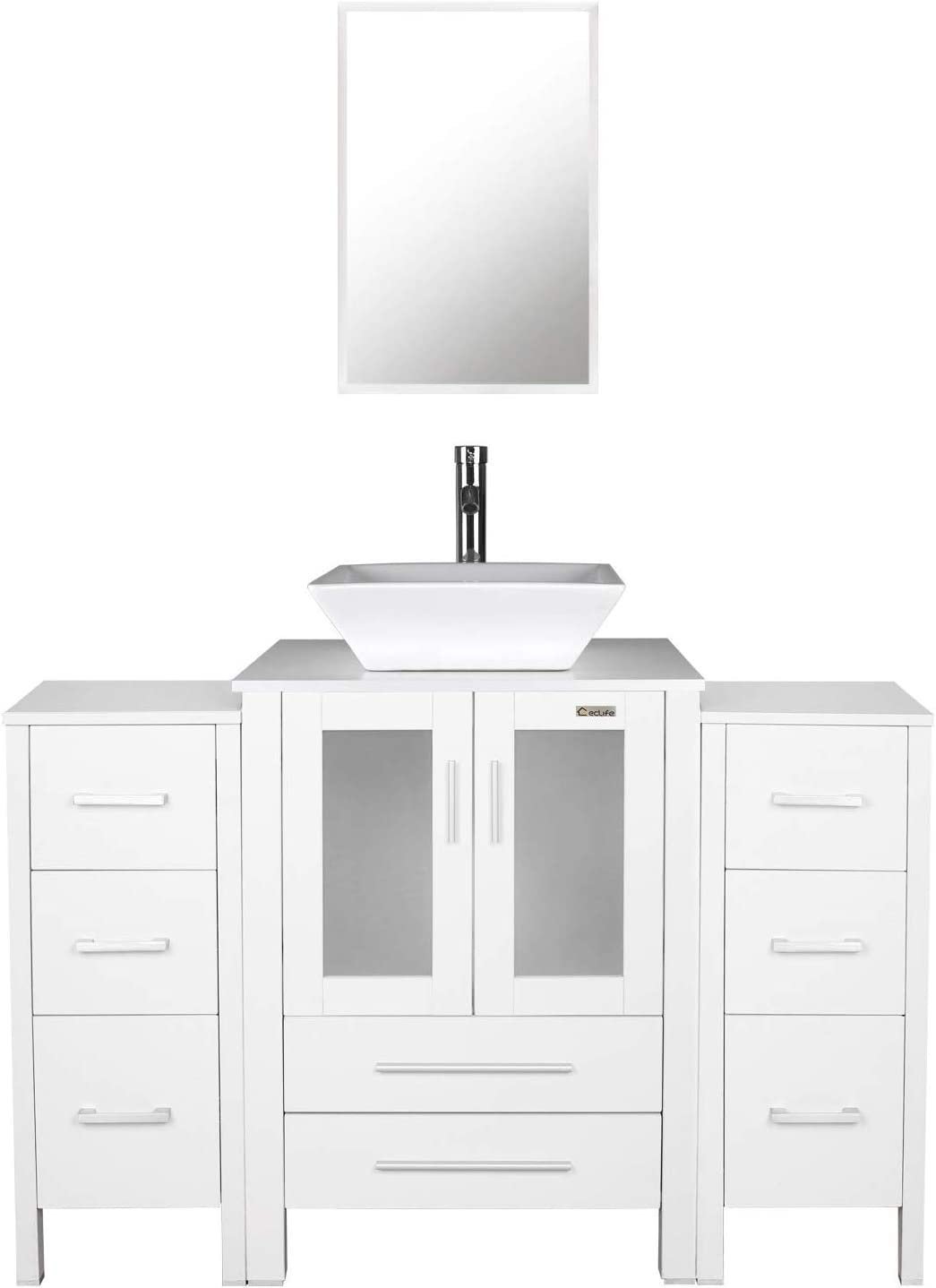 48″ White Bathroom Vanities and Sink Combo,Porcelain Vessel Sink Square ,Chrome Faucet,Drain Parts,2 Small Side Cabinet Removable,Mirror Included