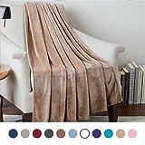Bedsure Flannel Fleece Luxury Blanket Camel Twin Size Lightweight Cozy Plush Microfiber Solid Blanket
