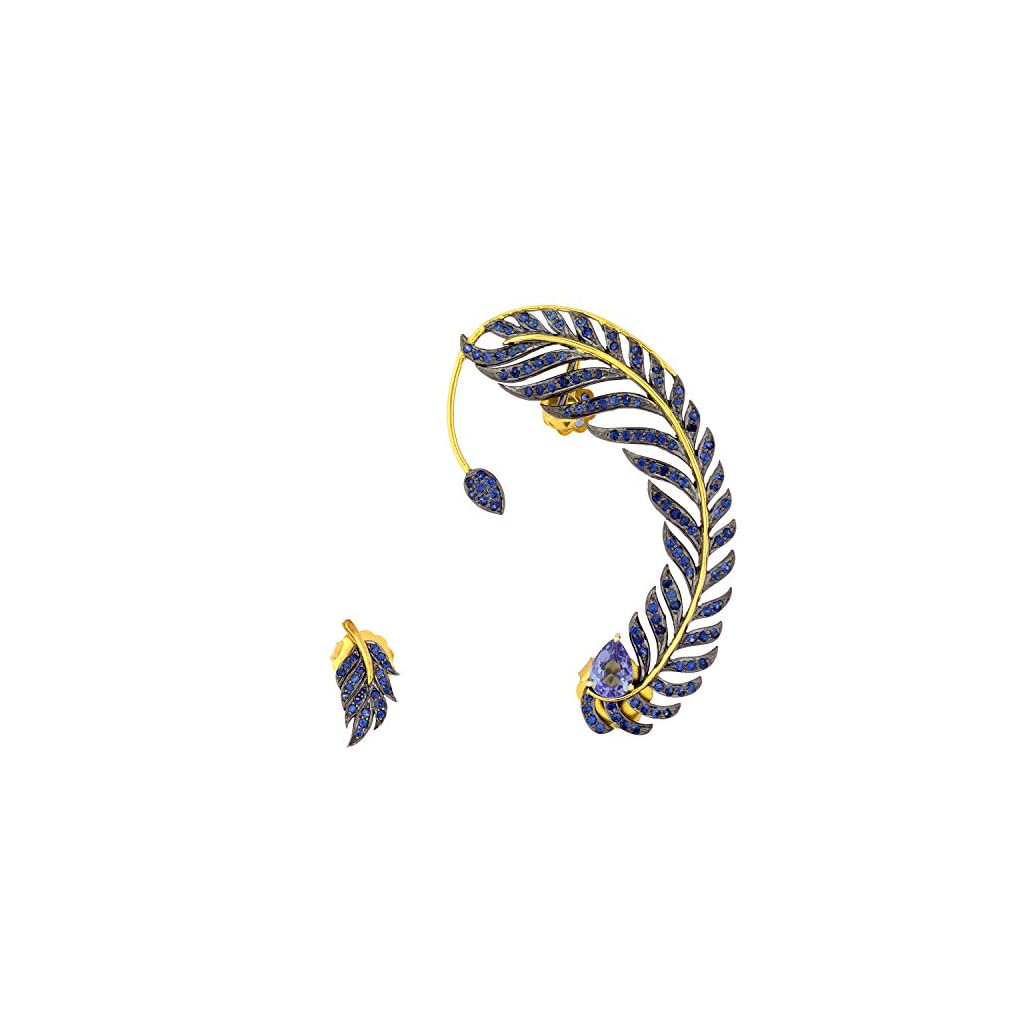 18K Yellow Gold & Sterling Silver Blue Sapphire & Diamond Leaf Style Ear Crawler Cuff Climber Earrings