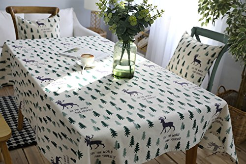 Kingmerlina Cotton Rectangle Linen Tree and Deer Vintage Tablecloth Table Cover 55