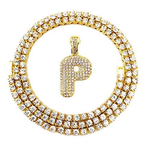 HH Bling Empire Iced Out Hip Hop Gold Faux Diamond Bubble Dripping Letter Tennis Chain Necklace 20 Inch (Bubble Letter P)