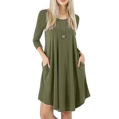Lover-Beauty Tshirt Kleid Damen Lange Ärmel Casual Kleid Blusen Kleid lose  Tunika Casual T-Shirt Kleid  Amazon.de  Bekleidung 1c7db53b8d