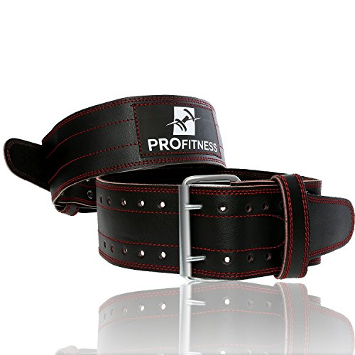 Weight Lifting Belts for Men and Woman by PROFITNESS Heavy Duty Non-Slip Premium Grade Leather Weightlifting Belt Comes (Red, Medium)