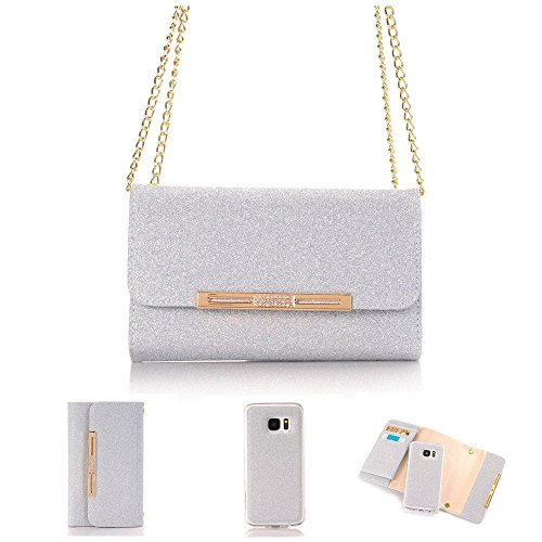 "5.5"" iPhone 7 Plus Case Wallet Cover,MEILIIO Glitter Powder Bling PU Leather Flip Zipper Wallet Cover Cards Slots Girls Lady Wristlet HandBag for Apple iPhone 8 Plus,iPhone 7 Plus 5.5 inch (Grey)"