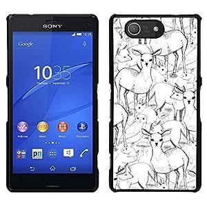 LECELL--Funda protectora / Cubierta / Piel For Sony Xperia Z3 Compact -- Dibujado ciervos Fox lápiz de la pluma de dibujo del arte de la mano --