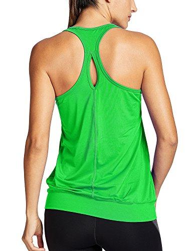 SYROKAN Women's Active Racerback Athletic Sports T-Shirt Long Yoga Crop Tank Top Green Medium (US 8-10)