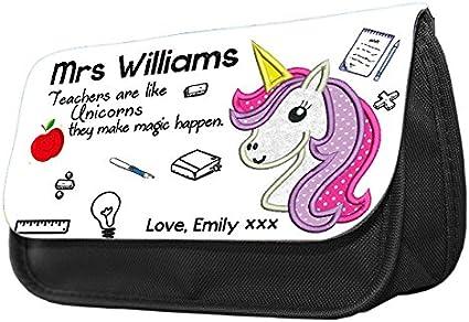 Hiros® personalizado profesores son como unicornio personalizado nombre temática estuche de lápices/bolsa – personalizar este estuche de calidad premium con cualquier nombre que desee: Amazon.es: Oficina y papelería