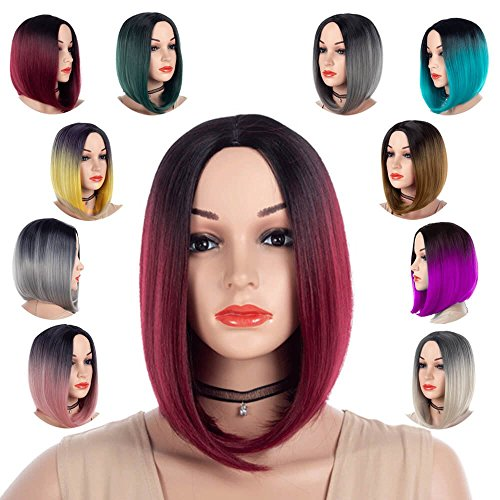 Best Short Bob Wig Middle Part Ombre Red