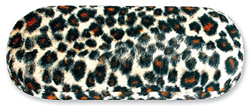 Hard Eyeglass Case, Glasses Holder For Women, Girls, Teens- Faux Animal Fur, Jaguar