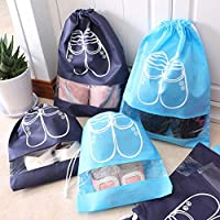VORCOOL Travel Shoe Organizer Bags for Boots Drawstring Transparent Window Space Saving Storage Bags 10 Pack Size M (Navy)