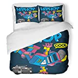 SanChic Duvet Cover Set Hiphop Cool Retro Robot Doing Hip Hop Dance Decorative Bedding Set with Pillow Sham Twin Size