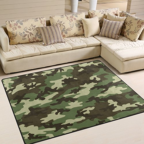 ALAZA Military Camouflage Camo Area Rug Rugs for Living Room Bedroom 5'3 x 4'
