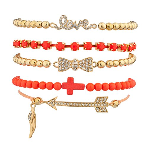 Lux Accessories Pave Love Bow Arrow Wing Cross Braded Arm Candy Friendship Bracelets (5 PC)