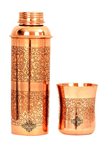 Indian Art Villa Embossed Designed Copper Glass Tumbler with Bottle, Storage Water Drinkware Set, 2 Pieces