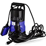 Submersible Water Pump Sump with Float Switch Portable 1/2HP Clean/Dirty (Blue2)