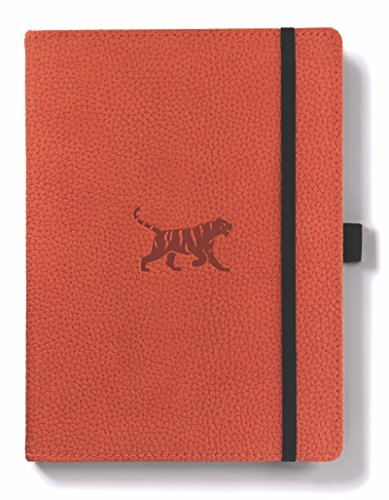 Dingbats Wildlife Medium A5+ (6.3 x 8.5) Hardcover Notebook - PU Leather, Micro-Perforated 100gsm Cream Pages, Inner Pocket, Elastic Closure, Pen Holder, Bookmark (Plain, Orange Tiger) (Orange Bullet)