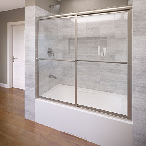 Basco Deluxe Framed Sliding Tub Door, Fits 56-59 inch opening, Clear Glass, Brushed Nickel Finish