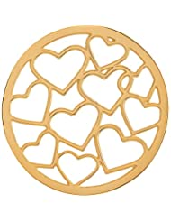 MS Koins Stainless Steel Multi Heart Coin Yellow Gold Plated Fits Our Coin Locket System, 30mm Diameter