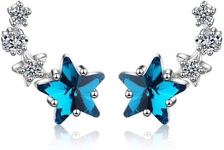 NOBRAND Pendientes de Las Mujeres Moda pequeñas Lindo Mini-Pendientes de la Estrella Fresco de la Estrella Azul de Cristal Artificial Compromiso (Color : Platinum Plated Brass)