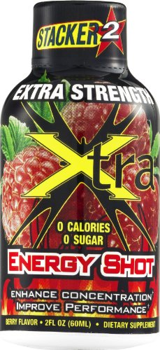 Stacker 2 Extra Strength Energy Shot Xtra Berry, 2 oz (Pack of 48) -