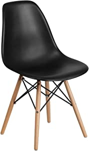 Flash Furniture Elon Series Black Plastic Chair with Wooden Legs