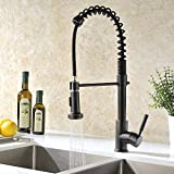 Copper Kitchen Faucets GICASA Semi-Pro Kitchen Faucet, Durable and Sturdy Pull Out Kitchen Faucet with Sprayer, Oil Rubbed Bronze Sink Faucet