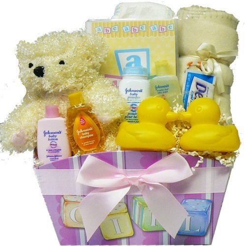 Art of Appreciation Gift Baskets It's A Girl New Baby Gift Basket with Teddy Bear
