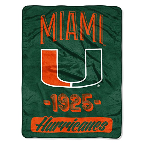 The Northwest Company NCAA Miami Hurricanes Varsity Micro Raschel Throw Blanket, 46