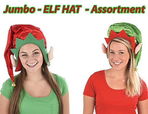 Christmas ELF HAT Costume Assortment, Holiday Santa Party Hats, With a Bell On The Top, JUMBO, Pack of 2, (1 red 1 green) By 4E's Novelty, ()