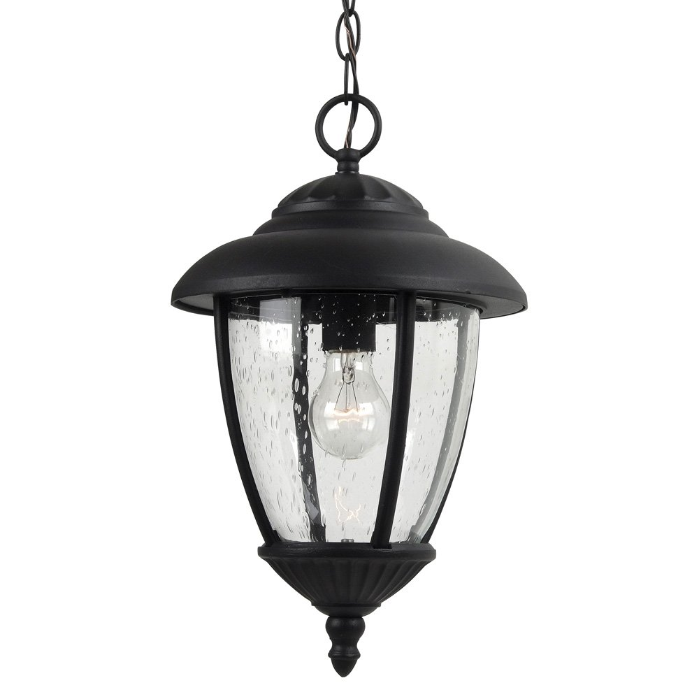 Sea Gull Lighting 60068-12 Lambert Hill One-Light Outdoor Pendant with Clear Seeded Glass Panels, Black Finish by Sea Gull Lighting