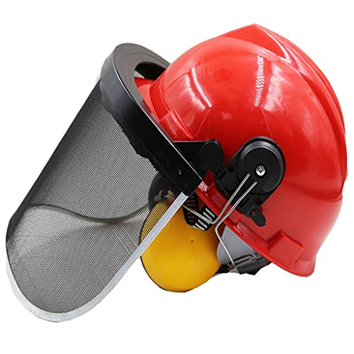 GUOF Safety Helmet Work Safety Helmet Wire mesh mask Helmet Mowing Helmet Facial mask Accessories Protective Cover Grass Lawn Mower Grass Noise Reduction Construction Worker Helmet with Ventilation a