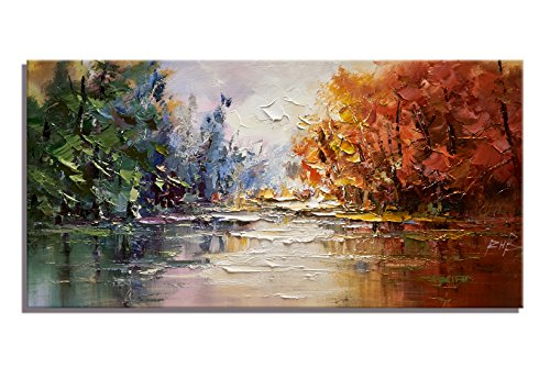Original Art Painting Forest Water Reflection Colorful Landscape Print on Canvas Modern Abstract Natural Scenery Picture Wall Art for Living Room (20x40 (Masterpiece Magazine Rack)