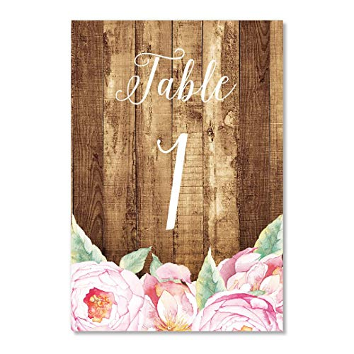 "Country Pink Floral Table Numbers 25 Count Reserved Tables Seating Rustic Flower Bloom Single Side 4"" x 6"" Set Bridal Shower Wedding Cards Bridesmaids Brunch Dinner Reception Event DB Party Studio"