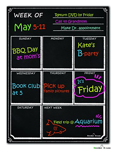 Dry Erase Calendar Magnetic Chalkboard Design Flexible Black Magnet Board for Refrigerator Black Fluorescent Magnetic Organizer Board Fridge Calendar Magnet Chalk Markers Board Planner Calendar Weekly