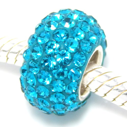 925 Solid Sterling Silver With Crystals Charm Bead - Charm Silver Teal