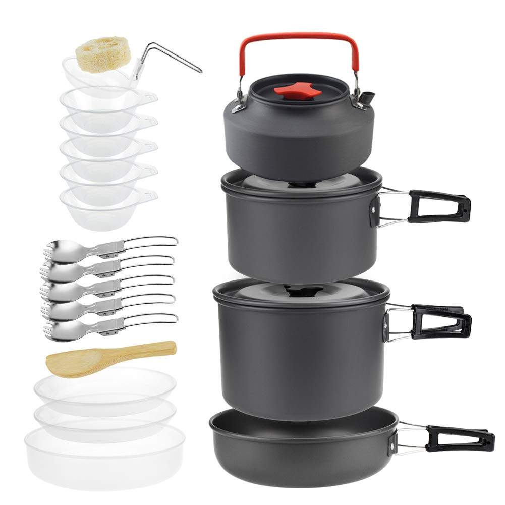 Gopamhu Camping Cookware 21 Piece Sets BPA Free with Mesh Set Bag- Anodized Aluminum - Complete Lightweight Folding Kit for Camping Hiking Backpacking Outdoor Cooking (Black, DS500) by Gopamhu